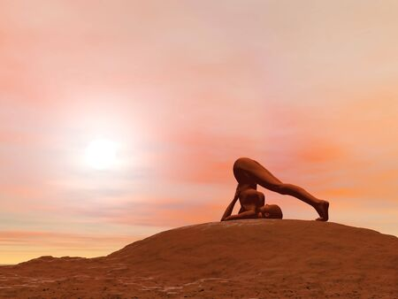 Young woman doing plough pose, halasana while practicing yoga outside in front of sunset photo