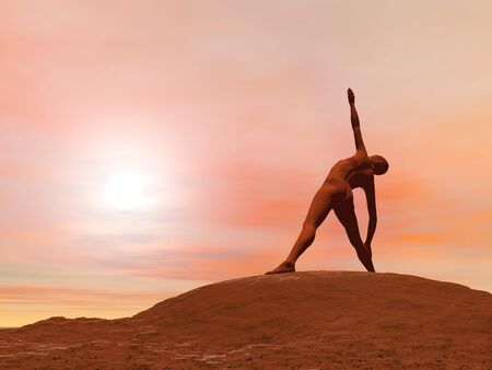 yoga outside: Young woman doing triangle pose, trikonasana while practicing yoga outside in front of sunset Stock Photo