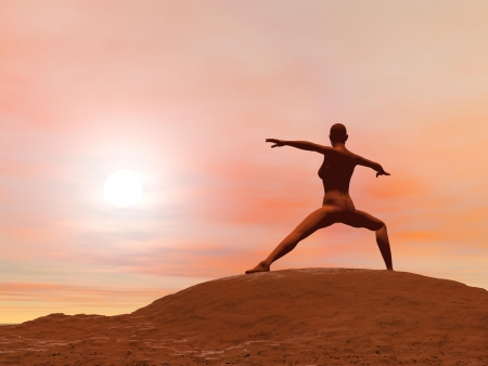 Young woman doing warrior pose, virabhadrasana 2 while practicing yoga outside in front of sunset Stock Photo - 17431337