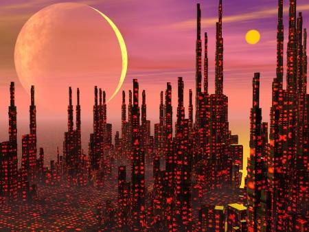 Futuristic buildings in a fantasy city and strange planets Stock Photo - 17629052