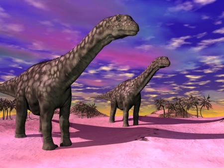 Two argentinosaurus dinausors in a prehistoric wild landscape and colorful sky