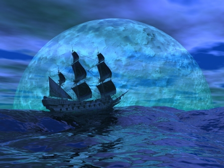 Flying dutchman boat floating on the ocean in front of a very big full moon by night Standard-Bild