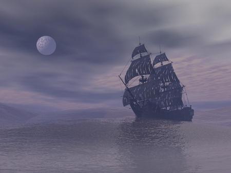 pirata: Antiguo barco fantasma que flota en el oc�ano de noche de niebla gris con luna llena