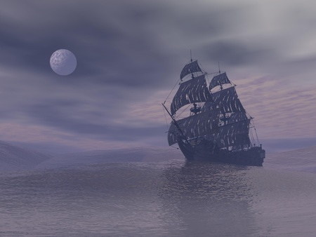 Old ghost boat floating on the ocean by grey foggy night with full moon Фото со стока