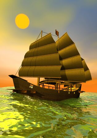 cantonese: Beautiful oriental junk floating on the ocean by orange and green sunset