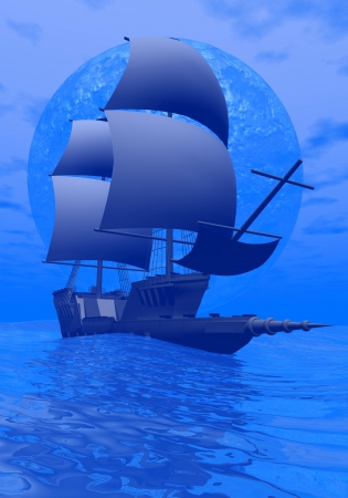 Beautiful ancient boat floating on the ocean by blue full moon night photo