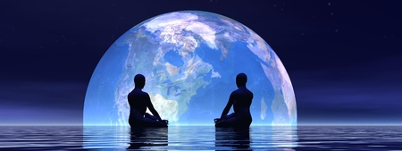 Two human silouhettes meditating in front of the earth by night Stock Photo - 17628995