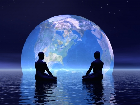meditation man: Two human silouhettes meditating in front of the earth by night Stock Photo