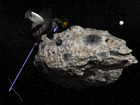 Galileo spacecraft discovering Dactyl orbiting the asteroid Ida in the universe in 1995  It was the first time a moon was discovered orbiting an asteroid