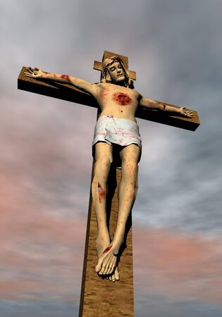 Jesus-Christ on the cross and cloudy background sky photo