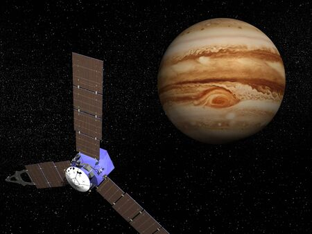 observation: Juno spacecraft near Jupiter planet for observation mission  It was launched on 5 august, 2011   Stock Photo