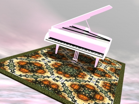 acoustically: White gran piano flying on a colorful carpet in y cloudy sky Stock Photo