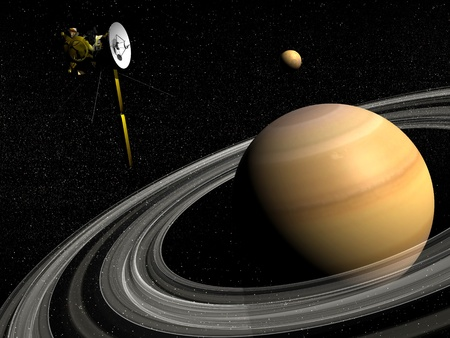 Cassini spacecraft near Saturn and titan satellite in the universe   photo