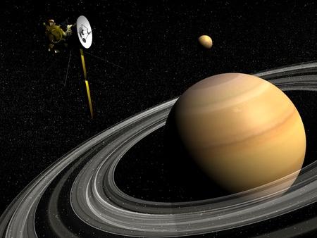 Cassini spacecraft near Saturn and titan satellite in the universe