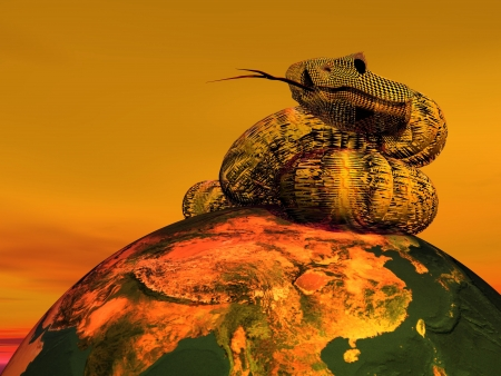A snage with tongue outside lying on a planet earth in red background Stock Photo - 17629051