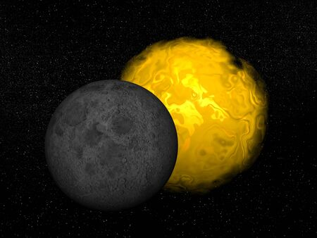 partial: Moon in front of the sun creating a partial eclipse in the universe Stock Photo