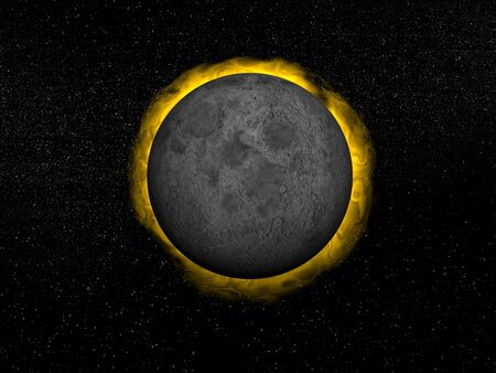 Moon in front of the sun creating a total eclipse in the universe Stock Photo - 17629047