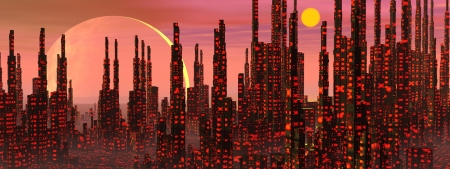 Futuristic buildings in a fantasy city and strange planets Stock Photo - 17902918