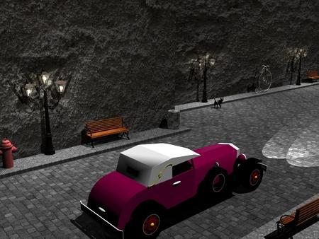 narrow street: Old car running in a narrow street by night