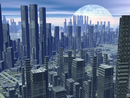 Modern alien futuristic city with lots of high buildings by hazy night with moon Stock Photo - 17902982