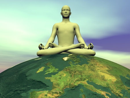 Human meditating while seated on the earth in green background photo
