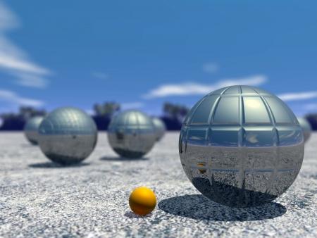 Boules de pétanque en plein air par beau jour
