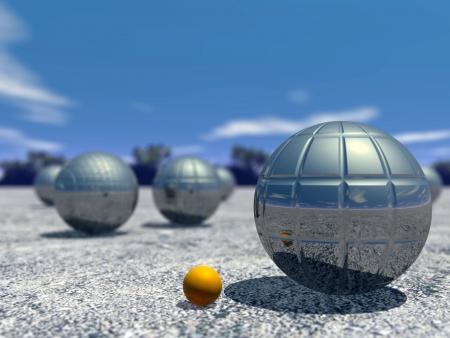 Petanque balls outdoor by beautiful day