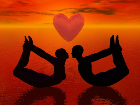 a woman and a man doing yoga pose and almost kissing under a big heart in red background photo