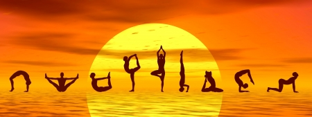 asanas: Silouhettes of people doing yoga asanas by sunset - 3D render Stock Photo