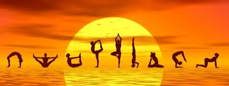 Silouhettes of people doing yoga asanas by sunset - 3D render Standard-Bild