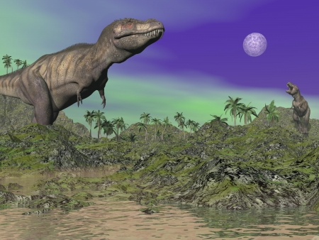 tyrannosaurus: Tyrannosaurus dinosaurs in prehistoric landscape by night Stock Photo
