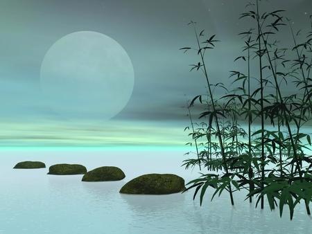 Bambous à côté de pierres dans une rangée menant à la lune en arrière-plan vert