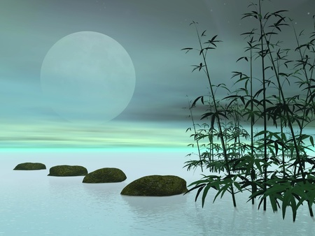 Bamboos next to stones in a row leading to the moon in green background