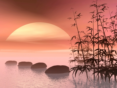 leading: Bamboos next to stones in a row leading to the sun in colorful background