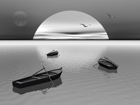 Old wood boats with two paddles staying on the quiet water by night with seagulls flying photo