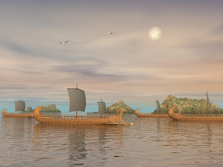 Old greek trireme boats on the ocean next to rocks by cloudy weather photo