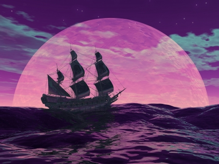 Flying dutchman boat floating on the ocean in front of a very big full moon by violet night Stock Photo