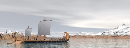 ancient greek: Old greek trireme boat on the ocean next to snowy mountains by cloudy weather