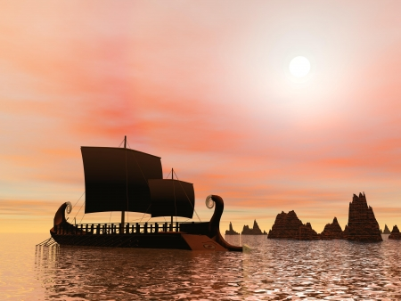 Vieux bateau trière grecque sur l'océan à côté de rochers au coucher du soleil Banque d'images