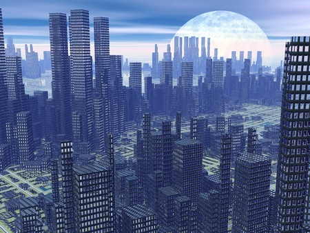 Modern alien futuristic city with lots of high buildings by hazy night with moon Stock Photo - 18060478