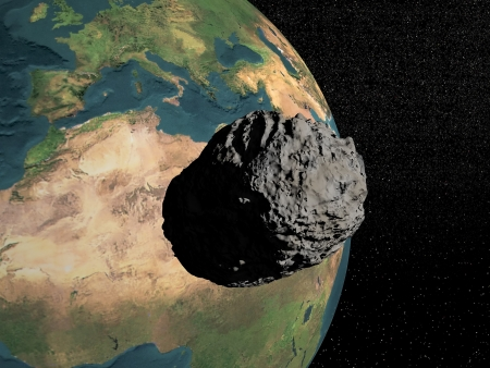 Bog grey meteorite going to earth in universe full of stars Stock Photo