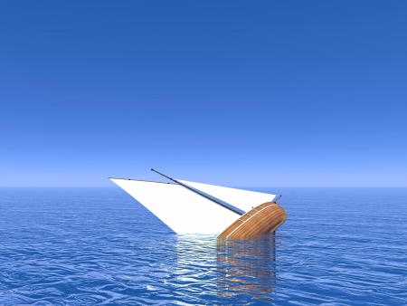 Small sailing boat sinking in deep ocean by bue day