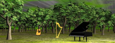 A piano, a guitar and a harp in the green woods photo