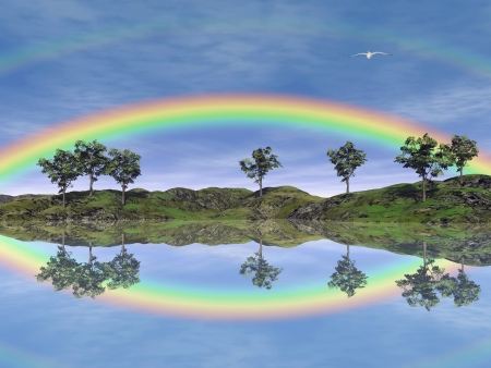 rainbow sky: Beautiful rainbow upon trees and grassland with its reflection in the water, flying bird in the sky Stock Photo