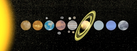 Palnets of solar system with moon and satellite in the universe photo
