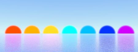 Seven sunset with chakra colors upon quiet ocean by beautiful clear day Stock Photo - 18303344