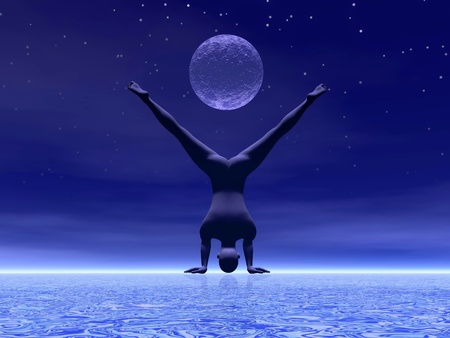 Man practicing yoga under full moon by starry night photo