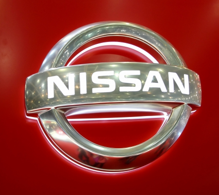 GENEVA - MARCH 8 : Nissan logo on display at the 83st International Motor Show Palexpo - Geneva on March 8, 2013 in Geneva, Switzerland.