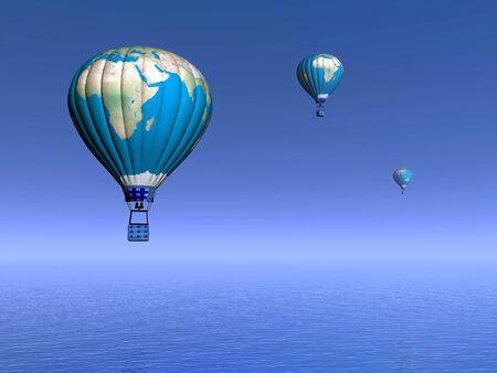 Trois ballons à air chaud avec carte de la terre vole dans le ciel bleu et sur l'océan