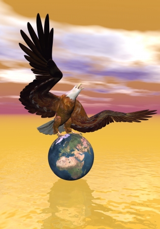 Beautiful royal eagle standing upon the earth to protect it, brown cloudy background photo
